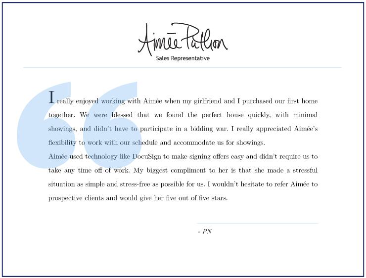 Aimee Puthon Testimonial