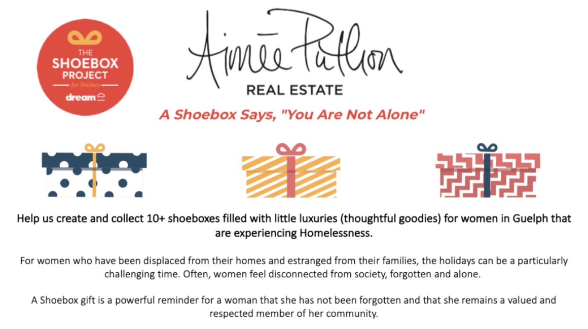 "The ""Shoebox Project""- collecting for women in Guelph experiencing homeless this holiday season"